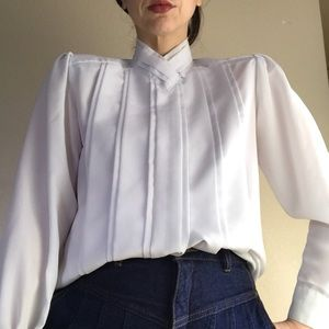 VTG 90s Silky White High Neck Romantic Blouse Top